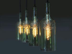 Vintage Flaschenlampe, Hängelampe cuatro