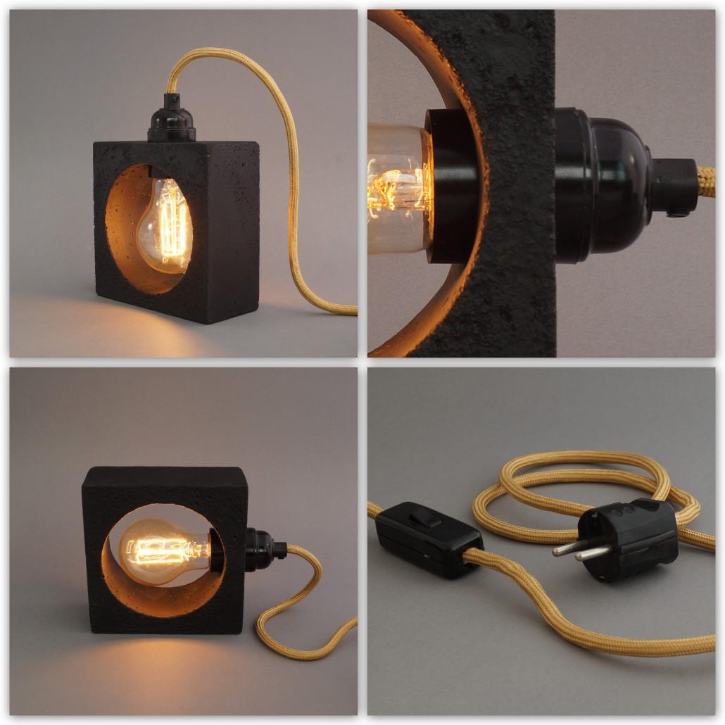 lichtgestalten betonlampe nomad nero. Black Bedroom Furniture Sets. Home Design Ideas