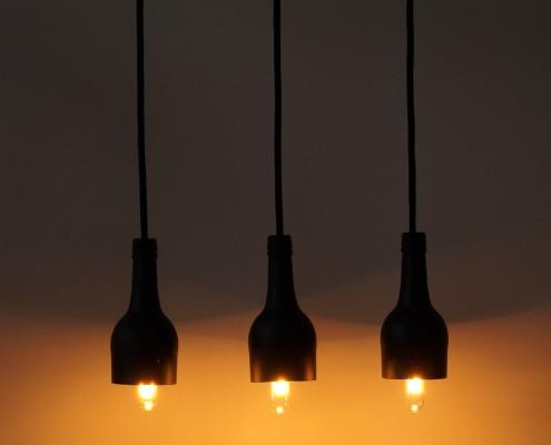 """Flaschenlampe Hängelampe """"tres/black"""""""