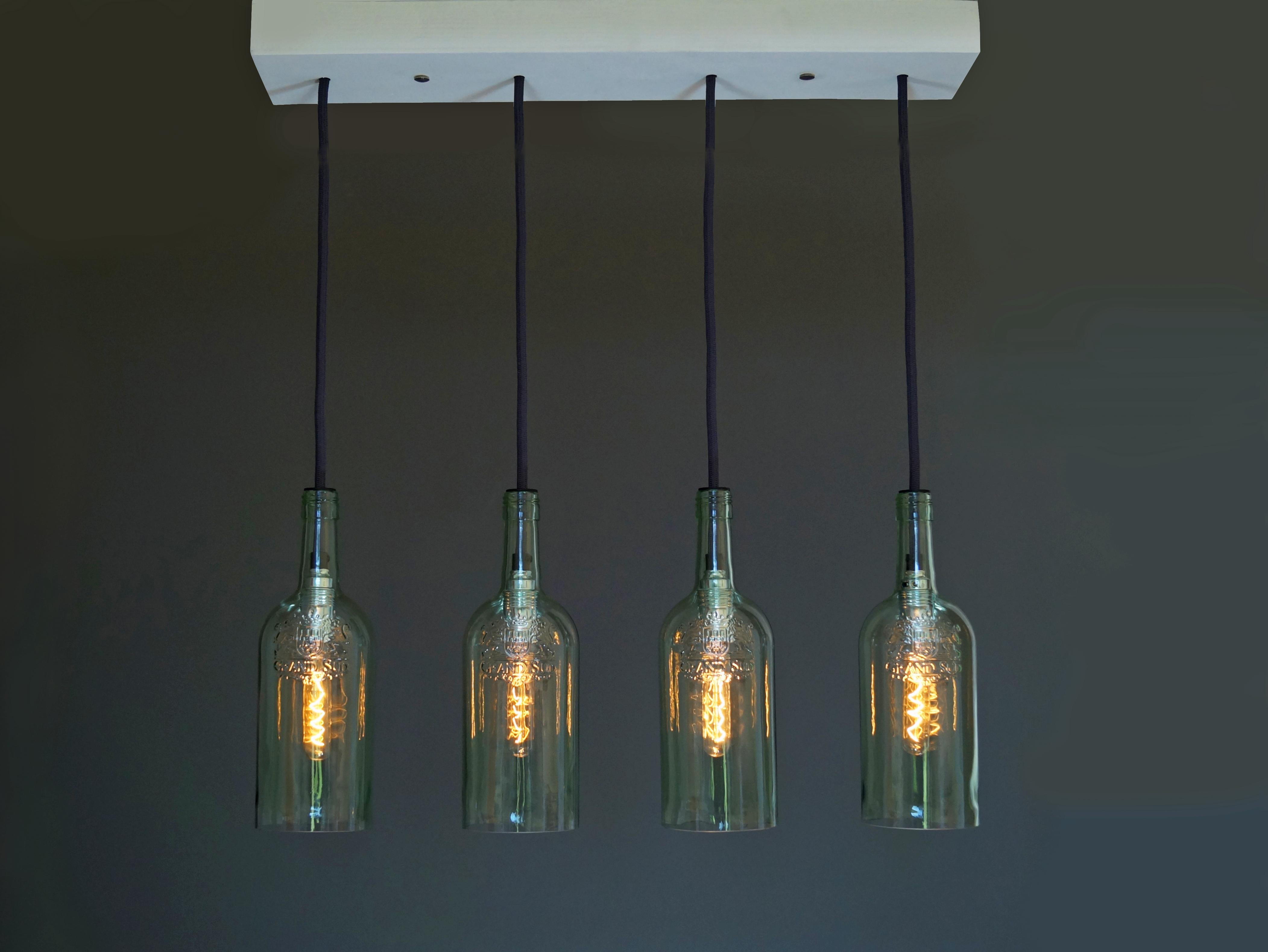 Vintage Flaschenlampe Hängelampe cuatro